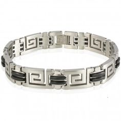 Men's Stainless Steel 13mm Greek Key Rubber Link Bracelet 9""