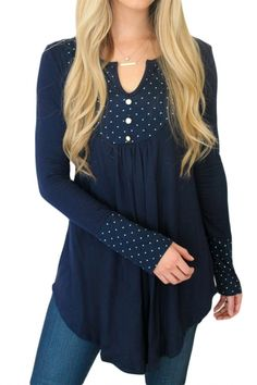 Like the polka dots and the color with this shirt.