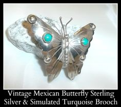Vintage Mexican Butterfly Sterling Silver & Simulated Turquoise Brooch Pin