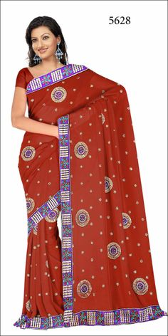 Shop SIXMETER #Casual Wear Brown Silk Saree at 99trendz.com. This is a perfect addition to every women's #Sarees Collection.