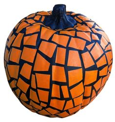 Cut up pieces of masking tape, stick them on your pumpkin, spray paint your pumpkin, let dry. Then peel the masking tape off and you have a mosaic pumpkin!