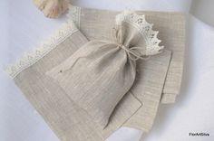 Sacs de lin avec dentelle, sacs-cadeaux en tissu, sacs de bonbons, sachets de lin, sacs faveur de mariage, 4 x 6 cm, gris et Ivoire, lot de 10