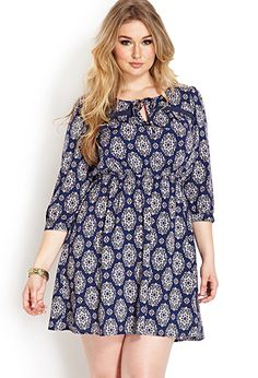 Boho Beauty Peasant Dress | FOREVER21 PLUS - 2000107049 Blue & White $22.80