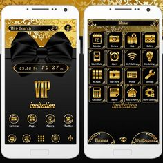 """VIP Gold Ribbon"" 9/30 Feel like a VIP when you bring this theme to your smartphone! The gold and black in the design make it look truly extravagant and stylish. http://app.android.atm-plushome.com/app.php/app/themeDetail?material_id=1342&rf=pinterest #cute #wallpaper #love #kawaii #design #icon #girl #style #beautiful #plushome  #homescreen #widget #deco #ribbon"