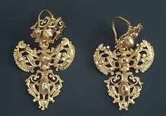Earrings, 18th century, Portuguese, gold and diamonds