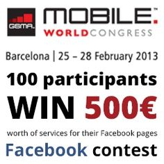 The GSMA Mobile World Congress is the worlds largest exhibition for the mobile industry and mobile technology. For this challenge, i like Voucher offers you an incredible opportunity to be one of the 100 lucky winners of the €500,00 major prize to spend on ILV services for your Business Facebook page. Each company wins 500,00€ worth in credits.