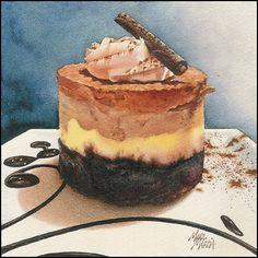 "Chocolate Caramel Mousse - transparent watercolor 6"" x 6"""