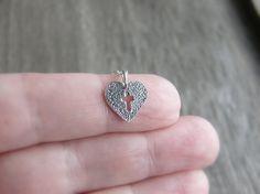 Heart Cross Necklace Sterling Silver Heart Cross by JewelleryJKW