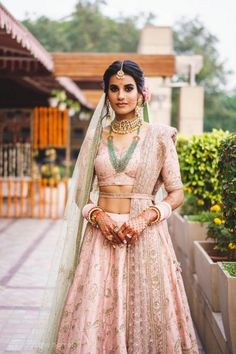 Indian bridal outfits - An Elegant & Fun Delhi Wedding With A Bride In Stunning Pastels! Indian Bridal Outfits, Indian Bridal Wear, Indian Dresses, Bridal Dresses, Indian Wear, Indian Attire, Indian Clothes, Lehenga Color Combinations, Color Combos