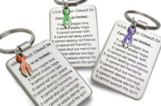 What Cancer Cannot Do® Keychain with Ribbon Charm
