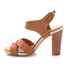 Sandales à talon en cuir LAURA CLEMENT