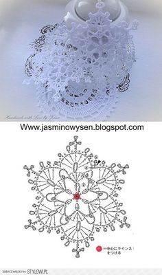 Crochet christmas doily snowflake ornaments Ideas for 2020 Crochet Snowflake Pattern, Crochet Stars, Crochet Motifs, Crochet Snowflakes, Crochet Diagram, Thread Crochet, Crochet Crafts, Crochet Flowers, Crochet Stitches