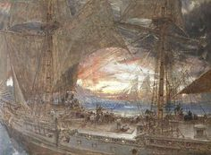 Albert Goodwin Maidstone, UK - was a notable English landscape painter specialising in watercolours. His work shows the influences of Turner and the Pre-Raphaelite Brotherhood Prince, Found Art, Royal College Of Art, Nautical Art, Pre Raphaelite, Sea Monsters, Vintage Artwork, Art Uk, Ship Art