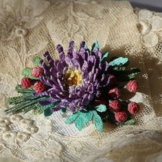 Gentle crochet brooch with violet flower and red от LozArts