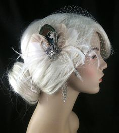 Bridal Feather Fascinator with Brooch, Bridal Fascinator, Feather Fascinator, Fascinator, Bridal Veil, Ivory and Natural Peacock Champagne