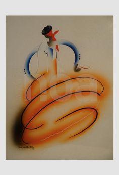 Tito Livio DE MADRAZO, Rare peinture de 1932, Cubiste Moderniste. Tableau Art Deco technique mixte