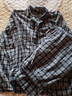 Hanes ~ NIP Men/'s Pajama Shirt /& Pant Set Flannel Blue White Plaid ~ 2XL