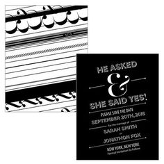 Black White Wedding Save The Date Card