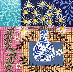 Folk Art Flowers, Flower Art, Pattern Art, Pattern Design, Halloween Doodle, Naive Art, Canvas Board, Daisies, Original Paintings