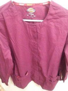 Scrub Jacket Coat Dickies Womens Burgundy Small Medical Nursing Uniform