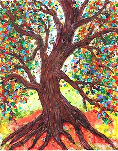 Autumn Tree, Fall, Colored Leaves, Home Decor -  FREE SHIPPING - Original Textured Acrylic  Painting by ebsq Artist Ricky Martin. $49.00, via Etsy.