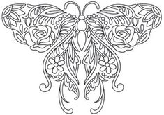 The dimensional, papercutting-style of this butterfly carries small signs of… Free Adult Coloring, Printable Adult Coloring Pages, Coloring Book Pages, Butterfly Coloring Page, Butterfly Art, Butterfly Design, Folk Embroidery, Embroidery Patterns, Urban Threads