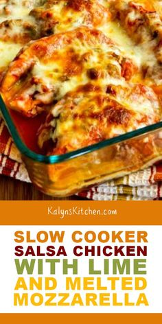 This Slow Cooker Salsa Chicken with Lime and Melted Mozzarella finishes up under the broiler with cheese for a tasty dinner that's low-carb and gluten Crock Pot Recipes, Slow Cooker Recipes, Low Carb Recipes, Chicken Recipes, Cooking Recipes, Healthy Recipes, Crockpot Ideas, Meal Recipes, Cheese Recipes