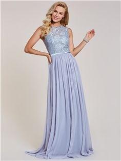 Tanpell lace long evening dresses scoop sleeveless floor length a line gown  new women chiffon wedding party formal evening dress e6fde12e6595