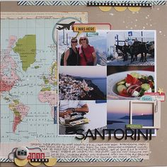 #Papercraft #scrapbook #layout. Santorini. Great layout from jenni hufford. nice way to include a map in your layout (don't forget to use your acid spray!)