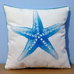 Cotton Linen Starfish pillow Cute Starfish by DecorPillowStore
