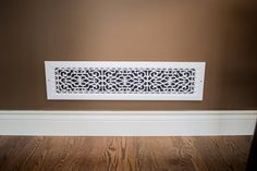 Victorian Style Wall Mount Grille/Vent  Customize your home with these decorative cold air returns, no more dented metal vents. Made from high strength polymer resin. Check out the variety of sizes.  - Fits 6 in. x 30 in. opening - High strength polymer finish - Easy to clean - Will not rust, dent or scratch - Paintable white finish to match your décor - Comes with pre-drilled holes/screws - Comes in base board and wall mount - Approximately 1 lb. in weight - Returnable within 90 days…