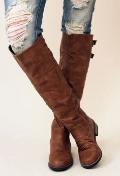Brown Double Back Buckle Knee High Boots #fallfashion