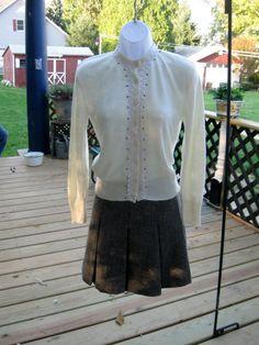 Vintage Black Herringbone Pleated Skirt 25 waist by jonscreations