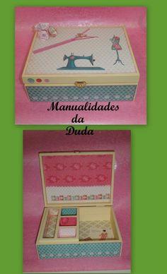 Caixa de Costura Tilda -     Caixa de madeira, pintada com tintas acrílicas Americana, aplicação de papel scrap Tilda; clipart Tilda.