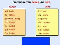 Präteritum haben sein German English, Learn German, German Language, Education, Learning, School, Languages, Teaching