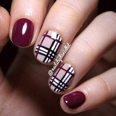 Black, Red and Gold Purple Plaid French Tip Neon Summer Plaid Buffalo Check Nails TARTAN on Your Toes Burberry Nails Plaid Nails in Pink and Black Simple Fall Nails, Cute Nails For Fall, Fall Nail Art Designs, Cute Nail Designs, Maroon Nail Designs, Plaid Nail Designs, Fall Designs, Fingernail Designs, Awesome Designs