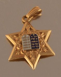 14K YELLOW GOLD  VINTAGE  STAR OF DAVID WITH ENAMELED  TABLETS PENDANT