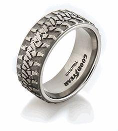 Wrangler Tread Ring, Mud Bogger Rings - Titanium- Very unique....LOL