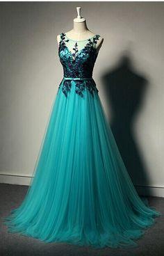 Real Custom Appliques Prom Dress Evening Gowns Tulle Floor Length Prom Dress Elegant Prom Dresses Evening Dresses