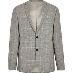 Grey check skinny fit suit jacket Skinny Fit Suits 909d69bc2244f