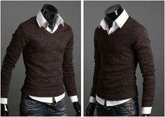 Men's Knit V-Neck Sweater $24.95.