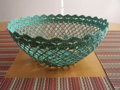 Large Crochet Lace Basket Bowl Sage by Dyers on Etsy - Dyed doilies, soak in bowl of fabric stiffener until saturated, remove doily from stiffener and place over bowl (or along inside of bowl) to form a basket shape. Allow to dry. Carefully peel dried basket from bowl.