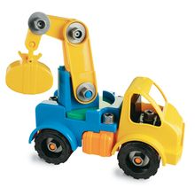 The battery-operated Take-A-Part Crane power tool makes assembly fun! Kids will feel a tremendous sense of accomplishment when they build a real toy. Then they can pull it completely apart, and start all over again! Builds focus, concentration and fine motor skills. Includes 30 vehicle parts, 1 battery-operated power tool and 3 bits. Uses two AA batteries (not included).