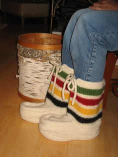 hudson bay knit mukluks - I know a certain BONZ who would love these!