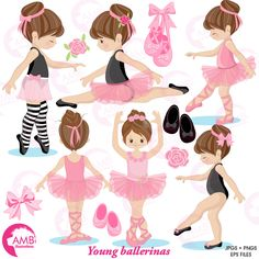 Ballerinas in Ballet class! This beautiful Ballerina clipart pack had them practicing for the recital! Little ballerinas in pink and in black… perfect for all your invitations, cards or parties! Great for girl birthday parties, scrapbooking, girls bedrooms and more. This amazing pack can also be used for embroidery, party decorations, greeting cards, invitation cards, cupcake toppers, favour tags, label stickers, scrapbooking, stationary, invitations, gift wrap, ribbons, planners, washi…