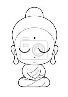 """Vinilos """"antiguo, chistoso, fe - monje budista de dibujos animados"""" ✓ Montaje sencillo ✓ 365 días para devolver ✓ ¡Mira otros diseños de la colección! Buddha Drawing, Buddha Painting, Buddha Art, Outline Drawings, Art Drawings Sketches, Easy Drawings, Bottle Painting, Bottle Art, Bottle Crafts"""