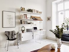 Cozy and Inviting Gothenburg Apartment - Nordic Design Workspace Inspiration, Living Room Inspiration, Interior Inspiration, String Regal, Black And White Furniture, Love Your Home, Shop Interiors, Inspired Homes, Decor Interior Design