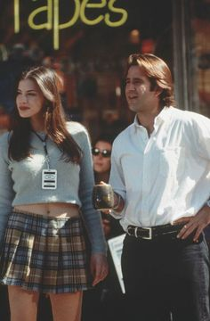 """Empire Records"" movie still, L to R: Liv Tyler, Anthony LaPaglia. 90s Costume, Movie Costumes, Character Costumes, Family Costumes, Group Costumes, Liv Tyler Empire Records, Empire Records Movie, Corey Mason, 90s Fashion"