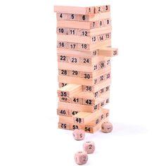 Деревянная Башня Деревянные Блоки Игрушки Домино 54 шт. Укладчик Экстракт Строительство Развивающие Jenga Игра Подарок 4 шт. Кости купить на AliExpress