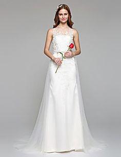 Lanting Bride® Corte en A Vestido de Boda Simplemente Sublime Hasta el Suelo Joya Encaje Tul con Apliques